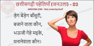 Chhattisgarhi Paheli - टेंड़ेग बेंड़ेग बाँसुरी, बजाने वाला कौन, भऊजी गेहे मइके, मनानेवाला कौन ।