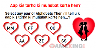 Select any pair of Alphabets Then i'll tell u k aap kis tarha ki muhabat karte hen? MM FF CC AA ZZ SS Reply Fast